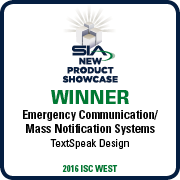 SIA Emergency Communications Mass Notification Systems Award